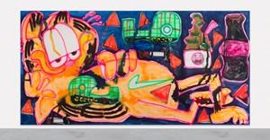 Garfield + Scotch Tape + Matcha + Coca Cola + Doritos + Nike by Katherine Bernhardt contemporary artwork