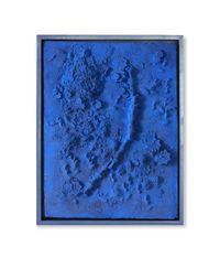 Blue Plaster Rectangle #1 by Alaoui Yasmina contemporary artwork mixed media