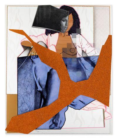 Mickalene Thomas, September1977 (2021). Rhinestones, glitter and acrylic paint on canvas mounted on wood panel with mahogany frame. 279.4 x 233.68 cm. © Mickalene Thomas / Artists Rights Society (ARS), New York.