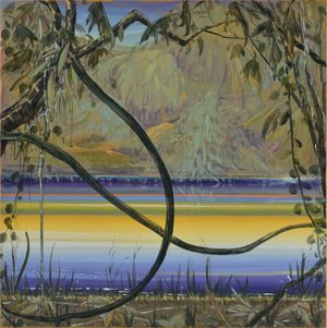 Hidden Land (Yellow & Purple Reflection) by Masakatsu Kondo contemporary artwork painting, works on paper