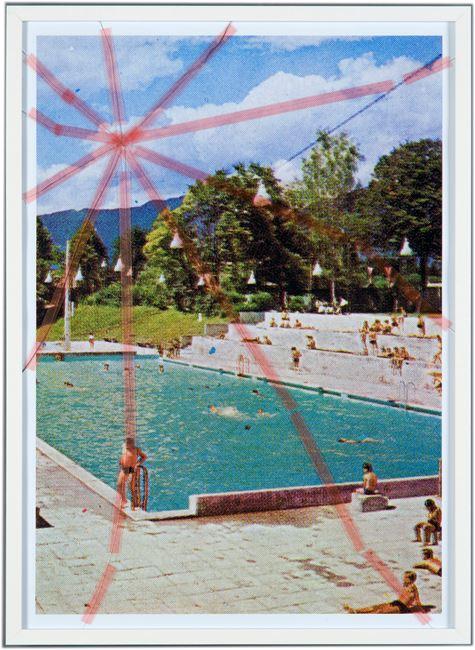 Nine Swimming Pools Behind Broken Glass #1 by Tanja Lažetić contemporary artwork