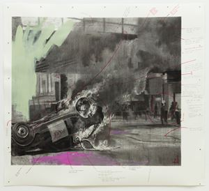 You Are In The Black Car Burning Beneath The Highway by Cosmo Whyte contemporary artwork works on paper