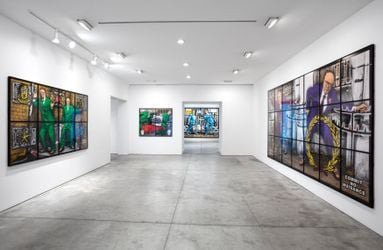 Exhibition view: Gilbert & George, NEW NORMAL PICTURES, Lehmann Maupin, 536 West 22nd Street, New York (9 September–6 November 2021). Courtesy the artist and Lehmann Maupin, New York, Hong Kong, Seoul, and London.Photo: Daniel Kukla.