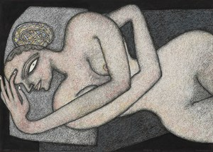 Woman Reclining by Jogen Chowdhury contemporary artwork