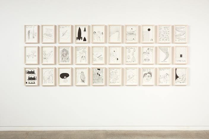 Exhibition view: David Shrigley, Works on Paper, Two Rooms (1 February–2 March 2019). Courtesy Two Rooms, Auckland, Stephen Friedman Gallery, London; Anton Kern, New York; BQ, Berlin and Galleri Nicolai Wallner, Copenhagen. ©David Shrigley