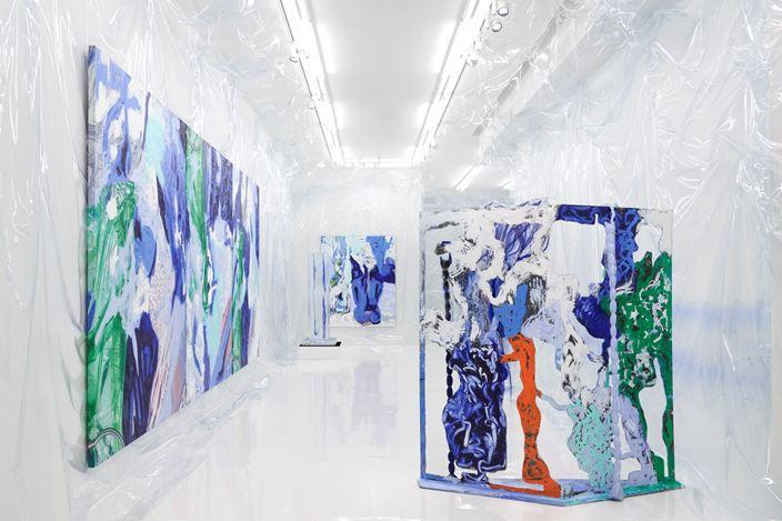 Exhibition view: Donna Huanca, WET SLIT,Simon Lee Gallery, London (28 February–18 April 2020).Courtesy Simon Lee Gallery. Photo: Ben Westoby.
