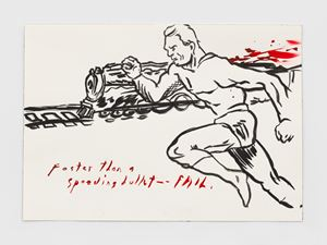 No Title (Faster than a...) by Raymond Pettibon contemporary artwork