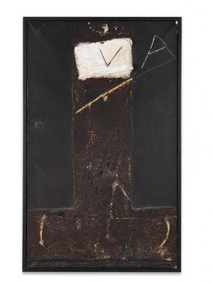 Marró sobre negre amb collage by Antoni Tàpies contemporary artwork