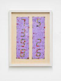 Counter Painting on Kimono Sode - Light Violet by Tatsuo Miyajima contemporary artwork painting, mixed media, textile, performance