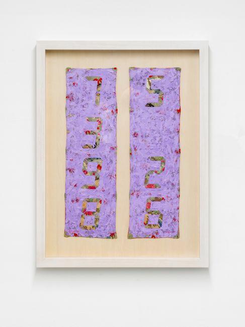 Counter Painting on Kimono Sode - Light Violet by Tatsuo Miyajima contemporary artwork