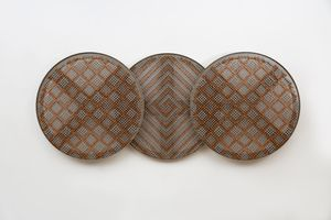 Sonic Rotating Identical Circular Triplets – Copper and Silver #9 by Haegue Yang contemporary artwork