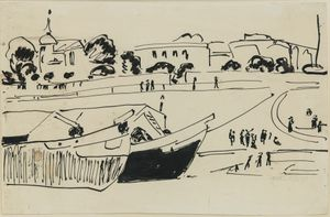 Elbkähne in Dresden ( Barges on the Elbe River in Dresden) by Ernst Ludwig Kirchner contemporary artwork