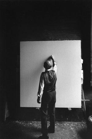 Lucio Fontana, Waiting, Milan (3) by Ugo Mulas contemporary artwork