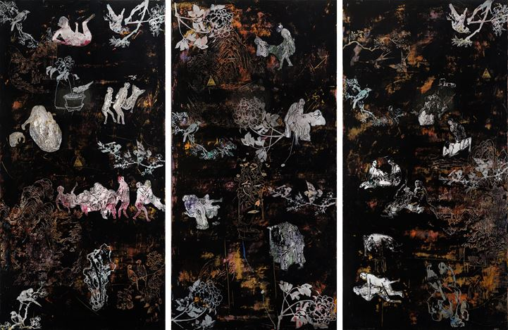 Su Meng-Hung, Garden of the Golden Lotus 美金瓶梅子園 (2019). Acrylic on canvas. 194.5 × 97.5 cm x 3 pieces. Courtesy the artist and Tina Keng Gallery, Taipei.