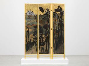 Decorative screen for the solarium of a homosexuals home (Fading sunflowers) by Hernan Bas contemporary artwork