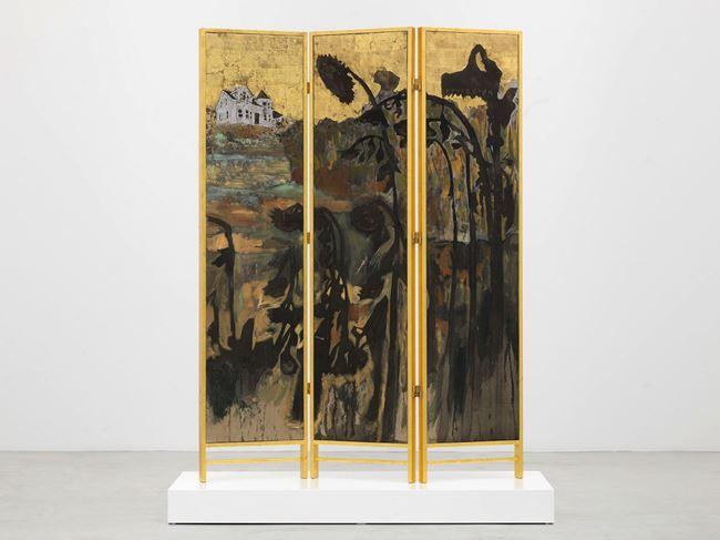 Decorative screen for the solarium of a homosexuals home (Fading sunflowers) by Hernan Bas contemporary artwork