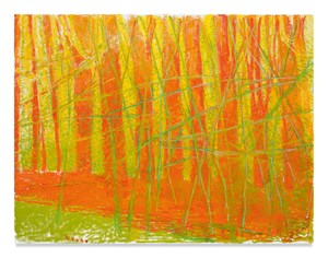 Two Levels of Green, One of Orange by Wolf Kahn contemporary artwork