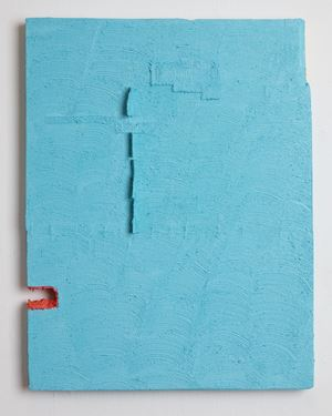 Untitled (aqua with red) by Louise Gresswell contemporary artwork