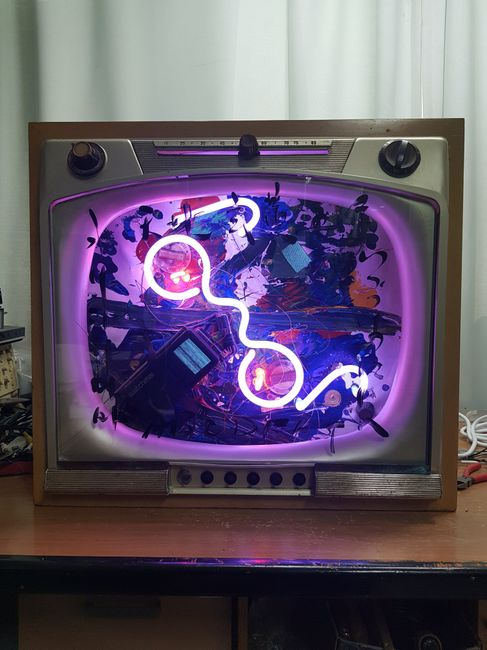 Neon TV - Heaven and Earth by Nam June Paik contemporary artwork