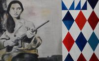 Louisa Benson with rifle by Sawangwongse Yawnghwe contemporary artwork painting, works on paper