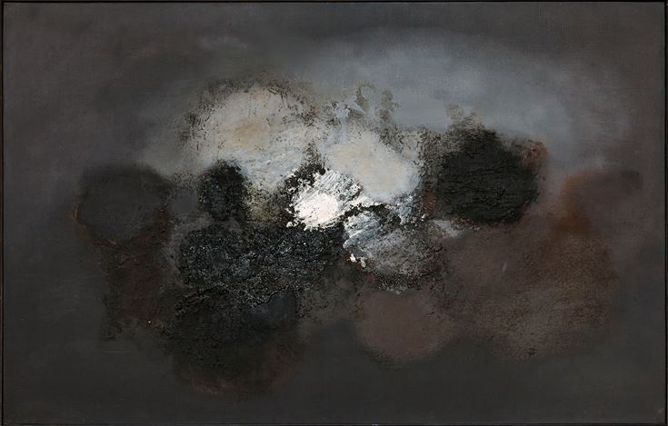 Luis Feito, Composition(c. 1958). Mixed media on canvas. 100 x 130 cm. Courtesy Galeria Mayoral.