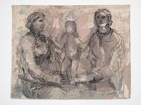 Two Seated Women and a Child by Henry Moore contemporary artwork sculpture