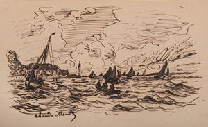 Le phare de l'hospice à Honfleur by Claude Monet contemporary artwork
