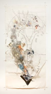 The Power of Movement in Plants - Dioscorides' Yam with Leonardo's Tree by John Wolseley contemporary artwork painting