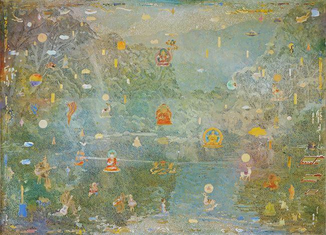 Tim Johnson, Thredbo River(2020). Acrylic on linen, 101 x 137 cm. Courtesy Tolarno Galleries.