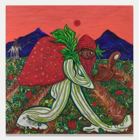 Daniel Gibson,Strawberry fields (2021). Oil on canvas.182.9 x 182.9 cm. © Daniel Gibson. Courtesy the Artist and Almine Rech. Photo: Matt Kroening.