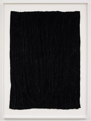 Burned piece (Dark green velvet from Spain) by Edith Dekyndt contemporary artwork