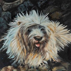 A Brown and White Dog Laying on Top of a Couch by Alexander Reben contemporary artwork painting