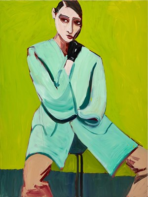 Woman in a Blue Coat on Green by Chantal Joffe contemporary artwork