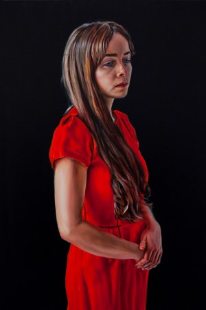 Photogénie - Figure in Red', (Number 3 from a series of 12 paintings) by David O'Kane contemporary artwork