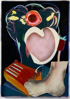 Black Painting 2 (Still Life with Kalimba) by Aurélie Gravas contemporary artwork