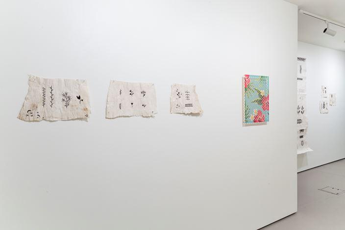 Exhibition view: Lonnie Hutchinson & Cora-Allan Wickliffe,Pacific Samplers, Bartley + Company Art, Wellington (16 September–16 October 2020). Courtesy Bartley + Company Art.