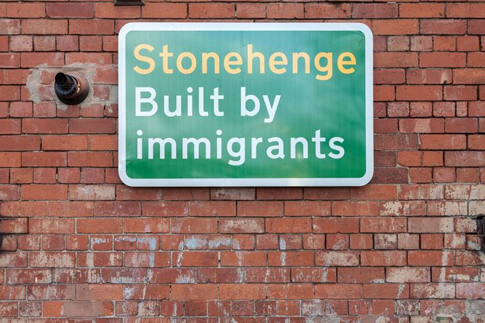 Jeremy Deller,Built by Immigrants(2019).Exhibition view: Jeremy Deller,Everybody in the Place: An Incomplete History of Britain 1984–1992, The Modern Institute, Aird's Lane, Glasgow (16 March–11 May 2019). Courtesy the Artist and The Modern Institute/Toby Webster Ltd, Glasgow. Photo: Patrick Jameson.