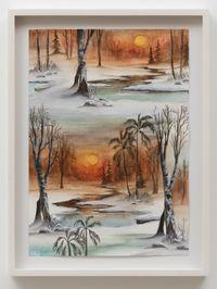 Winter Sunset by Neil Raitt contemporary artwork painting, works on paper