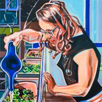 Dani watering her herbs (Body Languages of Care) by Anita Fricek contemporary artwork painting, works on paper