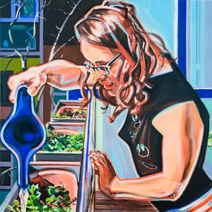 Dani watering her herbs (Body Languages of Care) by Anita Fricek contemporary artwork