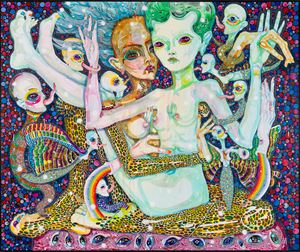 here with us....the pleasure brain by Del Kathryn Barton contemporary artwork