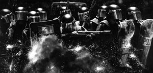 Untitled (Riot Cops Engaged) by Robert Longo contemporary artwork