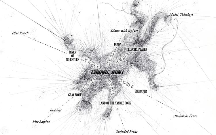 Matthew Barney, Cosmic Hunt (2020). Interactive map. © Matthew Barney. Courtesy Sadie Coles HQ, London.