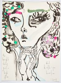 the bright and shiny girl - high gloss by Del Kathryn Barton contemporary artwork mixed media