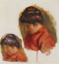 Femme au corsage rouge ou Gabrielle en rouge by Pierre-Auguste Renoir contemporary artwork painting