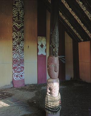 13.11.2000. Hinemihi interior. Clandon Park, Surrey, England. Nga Tohunga;Wero Taroi, Tene Waitere by Mark Adams contemporary artwork
