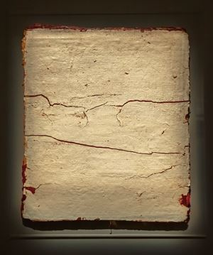Edges and Residues 06 - white on cad red by Kanchana Gupta contemporary artwork