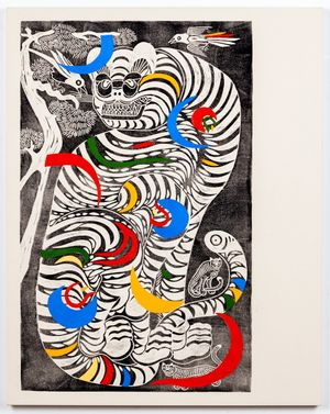 Kkachi Horangi (Magpie and Tiger) by Kour Pour contemporary artwork
