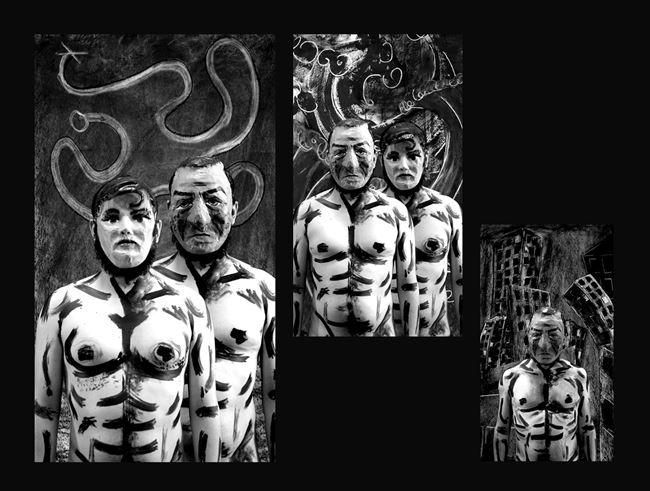 ¡Correlé, correlé, correlá, Por aquí, por aquí, por allá, Correlé, correlé, correlá, Correlé que te van a matar!  (Lidio y Paloma) by Edison Peñafiel contemporary artwork