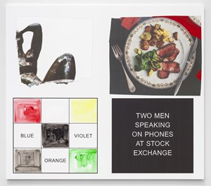 Storyboard (In 4 Parts): Two Men Speaking On Phone At Stock Exchange by John Baldessari contemporary artwork